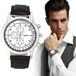 Wholesale Mens Black Watch Band Wholesale - Wholesale- 2016 Luxury Brand Men Geneva Watch Fashion Design Dial Leather Band Quartz Wrist Watches Mens Business Watch Gift relogio Clock