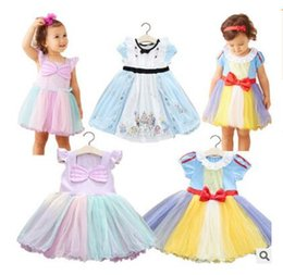 Wholesale Christmas Gift Snow Ball - Girls Dress Snow White Children Clothing Summer Cartoon Princess Girls Bowknot Christmas Dresses Best Gifts Top Quality DHL Free Shipping