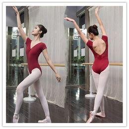 Wholesale Women Spandex Unitards - Ballet Leotard For Women Cotton Short Sleeve Lace Ballet Dancing Costume Professional Adult Gymnastics Leotards