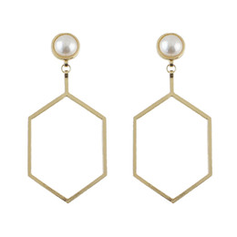 Wholesale Large Gold Stud Earrings - Newest Fashion Jewelry Gold Silver Plated Pearl Stud with Large Hexagon Metal Design Drop Earrings for Women