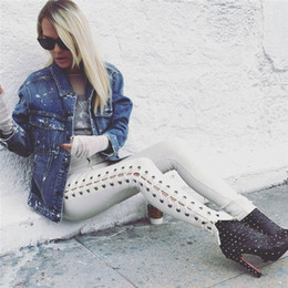 Wholesale Leggings Lace Opening - Fashion Side Lace Up Women Jeans Joggers Pants White Black Stretch Leggings Sexy Small Leg Hollow Out Side Open Punk Trouser