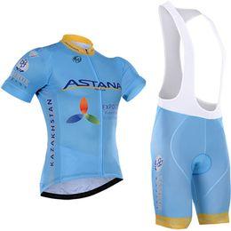 Wholesale Jerseys Shorts Astana - tour de france Team 2016 ASTANA cycling jersey straps shorts set 100% polyester quick dry pro bicycling jersey gel bike shorts suit