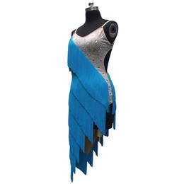 Wholesale Tassels Dance Latin - 2017 Sexy Lady Latin Dance Dress 9Colors Tassel Beadings Strap Sloping Skirt Infantis Festa Femininas Vestido De Baile Latino DQ1020