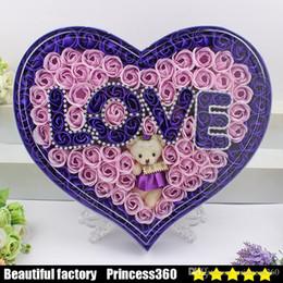 Wholesale Girlfriend Box - creative send his girlfriend soap flower gift box plus bear love lamp soap flower Valentine's Day birthday gift Teacher 's Day wed