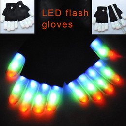 Wholesale Led Flashing Colors - Rave Gloves Mitts Flashing Finger Lighting Glove LED Colorful 7 Colors Light Show Black and White 3011001