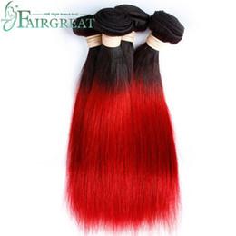 Wholesale Double Red Hair - Fairgreat Brazilian Straight Human Hair Bundles #T1B Red Ombre Human Hair Bundles Brazilian Indian Malaysian Mongolian Peruvian Human Hair