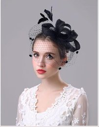 Wholesale Vintage Feather Headband Hat - Manual exaggerated bows hemp shamao hair band Vintage bridal veil party hat headdress four colors shipping free