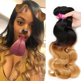 Wholesale Two Tone Brazilian Wave Ombre - Ombre Body Wave Hair Weaves Malaysian Indian Peruvian Brazilian Virgin Hair Bundles bodywave Two Tone Dark Roots Blonde Ombre Human Hair