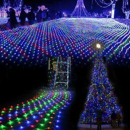 2019 fiesta cuerdas frutas Al por mayor-3M * 2 M a prueba de agua LED Net Mesh Fairy String Lights lámpara de barra de hielo para interiores al aire libre Jardín de casa de Navidad Fiesta de Navidad