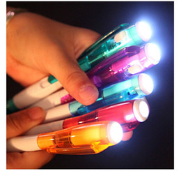 Wholesale Office School Pen - 10pcs lot pen with light Led multifunciton pen stationery office kids children school ball pen writing tool gifts