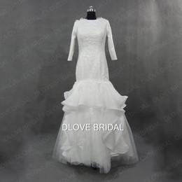 Wholesale Drop Waist Wedding Dress Mermaid - Designer Mermaid Muslim Wedding Dress Long Sleeve Ruffles Floor Length Drop Waist Solid Bridal Dresses Vestido de Noivas Real Photo Gown