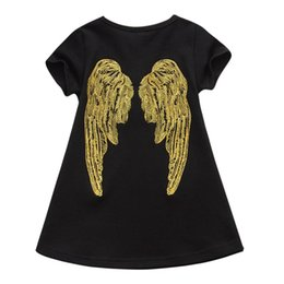 Wholesale Summer Wings Dress - Everweekend Girls Ins Hot Sell Angle Wings Embroidered Dress Ruffles Cotton Black Dress Cute Summer Children Dresses