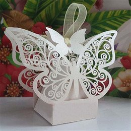 Wholesale Laser Cut Gift Box Design - New 50pcs White Butterfly Design Wedding Favor Candy Gift Box With Laser Cut