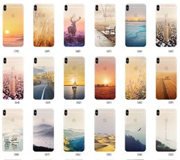Wholesale Clear Colored Iphone Cases - Colored Drawing Scenery Clear Soft TPU Gel Ultra Slim Mountain City Sunset Ocean Natural Landscape Cover Case for iPhone X 8 Plus 7 6 6S