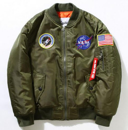 Wholesale Casual Male Jackets - Winter Mens MA-1 Pilot Bomber Jacket Male Nylon Flying Tigers NASA Embroidery Air Force Flight Ma1 Jacket Plus Size 4XL 5XL 6XL