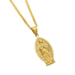 "Wholesale Figaro Jewelry - Hip hop Men Women Stainless Steel 24k Gold Color Punk Virgin Mary Pendant Necklace 24"" Cuban Chain Fashion Jewelry"