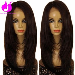 Wholesale Layered Black Wig - Amethyst Brazilian Virgin Human Hair Lace Front Wigs With BabyHair Layered Straight U Part Wigs For Black Woman