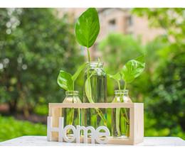 3 tipi di vetro di stile moderno da tavolo pianta bonsai fiore decorativo vaso da sposa con vassoio di legno decorazione della casa accessori da