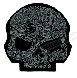 patch diy cloth Promo Codes - Cool Skull Flower Silver Motorcycle Patches For Vest Jacket Embroidery Punk Biker Patch DIY Cloth Patch Jersey Badge Free Shipping
