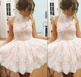 Wholesale Girls Lilac Chiffon Dresses - Blush Pink And Ivory Lace Prom Dresses Short High neck 2017 A-line Mini Cocktail Graduation Party Gowns For Girls