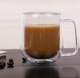 Wholesale Double Wall Glass Cup Milk - High Quality Double Wall Glass Coffee Cup Handmade Clear Heat-Resisting Tea Milk Coffee Mugs Fashion Cups With Handle
