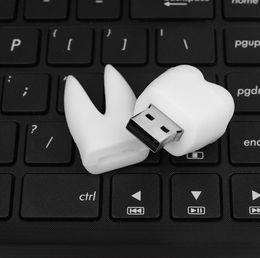 fdd externo Desconto 2017 Dentista Promocional presentes Gadget Engraçado dentes de Sabedoria forma U disco branco dentes pvc usb flash drive
