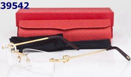 Wholesale Reading Glasses Gold Frame - Fashion designer rimless glasses frame men reading glasses new women gold metal plain glasses frames with box