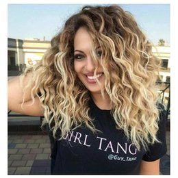 Wholesale Synthetic Wig Black White - Synthetic Curly Blonde Wig Dark Roots Ombre Wig for Black White Women High Heat Fiber Pelucas Sinteticas Rubias Perruque Perucas