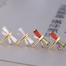 Wholesale Gold Earrings For Kids - Mini Size 18K Yellow Gold Plated AAA CZ Crystal Lovery Dragonfly Stud Earrings for Kids Girls Women Hot Brthday Gift