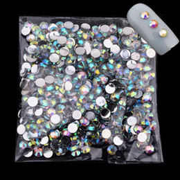Wholesale Nail Deco - Wholesale- 2~4mm Clear Crystal AB Acrylic Nails Supplies 3D Strass Nail Art Charms Deco Ongle Nail Jewelry Rhinestones for Nails ZJ1169