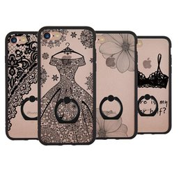 Wholesale Iphone Case 3d Crystals - For Iphone 6s Plus Ultra Lace 3D Embossed With Ring Kickstand Crystal Hard Case For iphone 7 6 plus Opp Bag