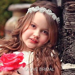 Canada Fête Fleur Fille Bandeau Cristal Strass Mariage De Mariée Bandeaux Fête D'anniversaire De L'enfant Enfants Vêtements Tenue de Cheveux Accessoire Ruban Cravate Dos Offre