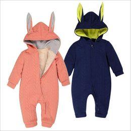 Wholesale Toddler Neck Warmer - Kids Clothing Girls Winter Rompers Ins Boys Fleece Rabbit Jumpsuits Toddler Fashion Onesies Newborn Animal Warm Bodysuits Baby Clothes B3208