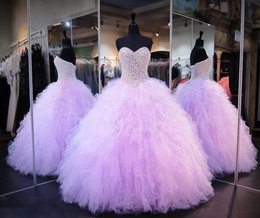 Wholesale Prom Corset Dress - Lavender Quinceanera Dresses Ball Gown Corset Crystals Pearls Ruffles Tulle 2017 Lace Up Back Pageant Gowns For Girls Sweetheart Prom Dress