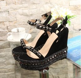Wholesale Green Summer Ladies Dress - Elegant Lady Shoes 2017 New Summer Shoes Genuine Leather Rivets High Heel Wedge Sandals Fashion Woman's Platform Shoes ML2810-3