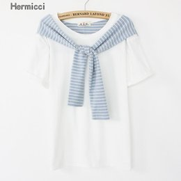 Wholesale Stripe Tees For Women - Wholesale- 2016 Summer New Harajuku T Shirt for Girls Korean Style Women Rock Candy Color Tee Femme Kawaii Tops Stripe Sleeve Patchwork