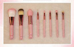 Wholesale Wholesale Mirror Brush Sets - New arrical Makeup Brushes Set + Mirror Case eyeshadow blush Brush Kit Pink Make up Toiletry Beauty Appliances 8pcs set Cosmetic tools free