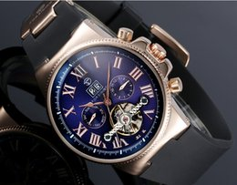 Wholesale Mens Black Watch Band Wholesale - Mens Automatic Wristwatch Blue Ray Calendar Luxury Sports Chronograph Date Steampunk Roman Dial Tag Fashion Mechanical Rubber Band Watches