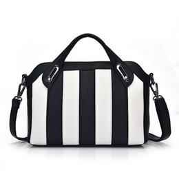 Wholesale Stripe Phone Shell - Wholesale- Fashion Women's Leather Handbags Designer High Quality Women Messenger Bags Luxury Black White Stripe Bag Ladies Sac de Luxe