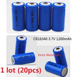 Wholesale Rechargeable Cr123a - 20pcs 1 lot 16340 CR123A 3.7V 1200mAh lithium li ion Rechargeable Battery 3.7 Volt li-ion batteries free shipping