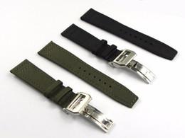 Cinturones de tela negra online-20 21 22mm Verde Nylon Negro Tela de cuero Banda de reloj Reloj Correa Correa 316L Hebilla de acero inoxidable Despliegue Despliegue