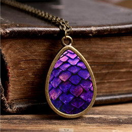 Wholesale Tear Drop Jewelry - 2017 New Purple Dragon Egg Necklace Game of Thrones Tear Drop Pendant Jewelry Vintage Glass Photo Necklaces Gifts Men