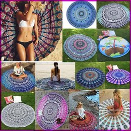 Wholesale 12 Swim - 12 Types New Large Shawl Hot Round Beach Towel Fire Peacock Mandala 150cm Beach Swim Towels Bohemia Style Bikini Covers