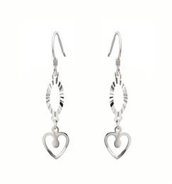 Wholesale Vintage Sterling Silver Chandelier - Earring Jewelry Geometric Double Heart Pendant Long Chain Sterling Silver Earring Drop Earrings Vintage Long Chandelier Earrings ES01037