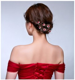 Wholesale Cheap Silk Flower Pins - Cheap!!!2017 Shiny Crystal Red Rose Flower Bride's Headpieces U Hairpin In Stock Hair Accessories Hair Pins