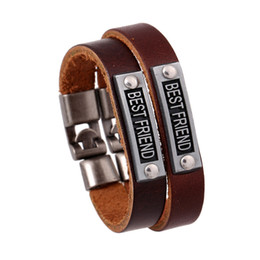 Wholesale bracelets for couples leather - Wholesale- wholesale Couple Bracelet Retro Leather Bracelet Fashion jewelry for best friend brown color genuine leather cuff wristband