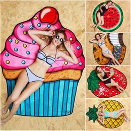 Stuoie di fragole online-Asciugamani alla fragola ananas sorriso telo da spiaggia rotondo stampato poliestere tinta unita tessuto estivo stuoia di yoga Boho Home Decor 150 centimetri di asciugamani