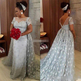 Wholesale nude modern women picture - Modest 2017 Silver Lace Evening Party Dresses Short Sleeves Jewel Neck Sexy Backless Detachable Train Arabic Women Formal Bridal Gowns