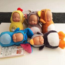 Wholesale Silicone Women Doll - 2017 New Cartoon New Born Sleeping Baby Plush Doll Cute Key Chain Pendant Kids For Kids Birthday Gift