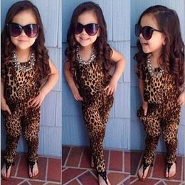 Wholesale Leopard Outfits For Babies - New Baby girls leopard print sleeveless playsuit Jumpsuit for summer European and American retro children girl outfits clothing sets